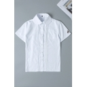 Preppy Girls' Short Sleeve Peter Pan Collar Button Down Deer Embroidered Pocket Pleated Relaxed Shirt in White