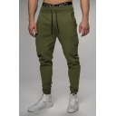 Mens Sportive Solid Color Drawstring Waist Relaxed Leisure Pants with Pocket