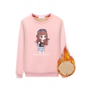 Cute Student Girls' Long Sleeve Crew Neck LOVELY GIRL Letter Cartoon Girl Print Sherpa Liner Fitted Pullover Sweatshirt