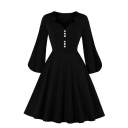 Vintage Unique Women's Blouson Sleeve V-Neck Button Front Zipper Back Midi Pleated Flared Dress in Black