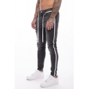 Guys Stylish Colorblock Stripe Side Pencil Pants Skinny Fit Ripped Wash Jeans with Drawstring