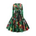 Formal Fashion Women's Long Sleeve Boat Neck Zipper Back Bow Tie Waist All Over Christmas Print Mid Pleated Flared Dress
