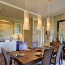 Curved Dining Room Suspension Pendant Light Bamboo 1 Light Asia Ceiling Lamp in Beige