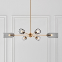 Elongated Dome Dining Room Chandelier Lamp Smoke Gray Glass 6 Lights Postmodern Hanging Light in Gold