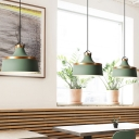1 Light Coffee Shop Hanging Pendant Light Modern White/Blue/Green Down Lighting with Drum Metal Shade
