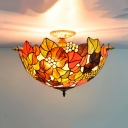 Flower Ceiling Flush Tiffany-Style Stained Art Glass 5 Heads Brass Flush Mount Lighting Fixture
