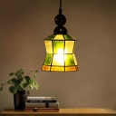 1 Light Pendant Light Baroque Green Frosted Glass Down Lighting in Black for Living Room