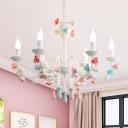 Modern Kids Candle Chandelier Light with Rose Decoration Metal Hanging Pendant Light for Girls