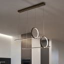 Ring and Linear Multi Light Pendant Modern Simple Metal Led Chandelier with Rectangle Canopy