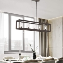 Metal Coffee Island Light Fixture Rectangle 5 Bulbs Industrial Pendant Lighting with Inner Clear Glass Cylinder Shade