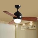 Minimalistic Bowl Ceiling Fan Light LED Metal Semi Flush Mount Lighting in Black for Living Room