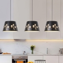Drum Pendant Light Modern Metal 1 Light Black Suspension Lamp for Dining Room with Floral Pattern