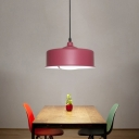 Purple Drum Down Lighting Contemporary 1 Head Metal Ceiling Hanging Light for Dining Room