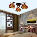 Peony Stained Glass Ceiling Lamp Tiffany 3/7/9 Heads Orange Hanging Semi Flush Mount Lighting