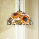 Flower Pendulum Light Victorian Stained Art Glass 1 Light Orange/White/Pink Suspension Pendant for Kitchen