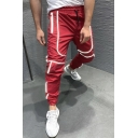 Active Reflective Tape Patchwork Drawstring Waist Loose Fit Quick-Dry Sweatpants