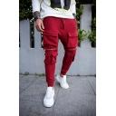 Hip-Hop Plain Zipper Patch Flap Pocket Unique Pants Outdoor Sweatpants for Men