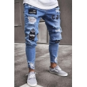 Street Fashion EAT CHICKEN Letter Applique Ripped Destroyed Skinny Fit Jeans