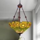 2 Bulbs Sunflower Chandelier Tiffany Yellow/Purple/Red Stained Glass Pendant Light for Dining Room