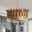 Brass 3/6/8 Heads Chandelier Lighting Vintage K9 Crystal Seaweed Pendant Ceiling Light for Dining Room