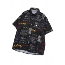 Women's Cool Street Short Sleeve Lapel Print Button Down All Over Letter Print Oversize Shirt in Black