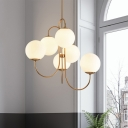Opal Frosted Glass Ball Chandelier Light Modernist 6 Bulbs Gold Pendant Lighting Fixture