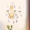 Gold 3 Light Sconce Light Fixture Countryside Metal Candle Wall Lamp with Crystal Droplet