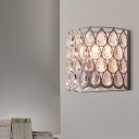 Crystal Half Cylinder Wall Lighting Idea Traditional 1 Light Bedroom Sconce Light Fixture in White