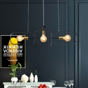3 Bulbs Frame Ceiling Chandelier Modernist Metal Hanging Pendant Light in Black-Gold
