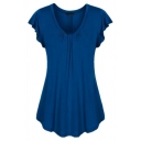 Plain Simple Ruffle Sleeve Round Neck Pleated Loose Fit T Shirt for Women