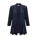 Casual Dark Blue Long Sleeve Shawl Collar Lace Patched Pleated Loose Fit Cardigan for Female