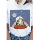 Women's Street Fashion Cat Astronaut Printed Short Sleeve Loose Fit Casual Tee