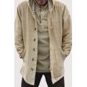 Ethnic Style Plain Long Sleeves Big Pocket Toggle Button Oversized Beige Coat with Hood
