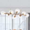 8 Bulbs Dining Room Island Lighting Modern Gold Hanging Ceiling Light with Ball Clear Glass Shade