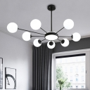 Round Chandelier Light Minimalist Opal Frosted Glass 8 Heads Black Pendant Lighting Fixture