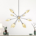 Modernism Pyramid Hanging Chandelier Amber Glass 12 Heads Living Room Ceiling Suspension Lamp