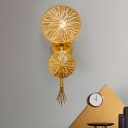 Circular Wall Lamp Contemporary Metal 1 Bulb Sconce Light Fixture in Gold for Bedroom