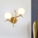 Branch Sconce Light Modernist Metal 2 Bulbs Wall Mounted Lighting in Gold for Living Room