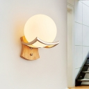 Frosted White Glass Round Sconce Light Modernism 1 Head Wood Wall Mounted Lighting