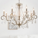 Countryside Candle Chandelier Lamp 3/6/8 Lights Crystal Pendant Light in Silver for Living Room