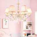 Pink 6 Heads Chandelier Light Traditionalism Fabric Conical Suspended Lighting Fixture with Crystal Accent