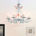 Candelabra Bedroom Ceiling Chandelier Traditional Clear Crystal Glass 5/8 Heads Pink/Yellow Hanging Light Fixture