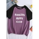 BANGTAN BOYS CLUB Letter Raglan Short Sleeve Round Neck Loose Fit Stylish T-Shirt