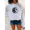 Creative Yin Yang Sun Moon THE EARTH DOES NOT BELONG TO US Long Sleeve Graphic Sweatshirt