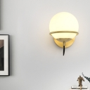 Contemporary Spherical Sconce Opal Frosted Glass 1 Head Wall Mount Light Fixture in Brass