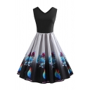 Cute Girls' White Sleeveless V-Neck Floral Printed Midi Pleated Swing Dress