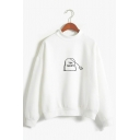 Creative TEA SHRIT Letter Printed Mock Neck Long Sleeve Loose Fit Leisure Sweatshirt