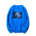 Exclusive Spaceman Printed Long Sleeves Round Neck Relaxed Fit Thin Pullover Sweatshirt