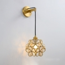 Pink/Clear/Light Pink Glass Floral Ball Sconce Light Modernist 1 Bulb Brass Finish Wall Mount Lamp