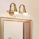 Traditional Blossom Wall Lighting Fixture 2/3 Heads Metal Vanity Wall Light in Brass for Bathroom